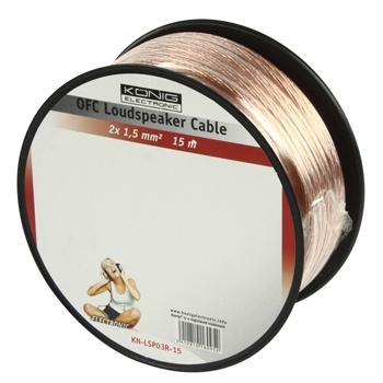 Kabel Reproduktoru na Cívce 2x 1.50 mm² 15.0 m Transparentní