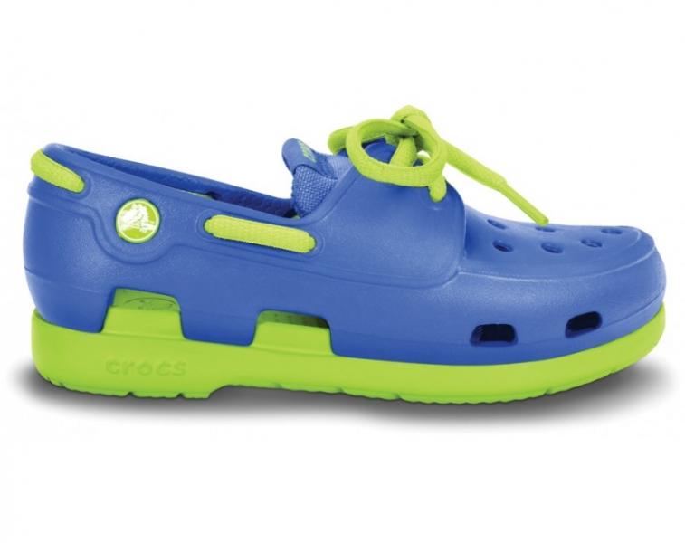 Crocs Beach Line Lace Boat Shoe Kids Sea Blue/Volt Green, C8 (24-25)