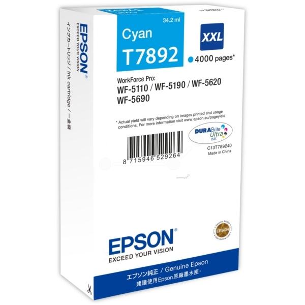 Azurová inkoustová kazeta Epson T7892 XXL pro WorkForce Pro WP-5110 - Originální C13T789240