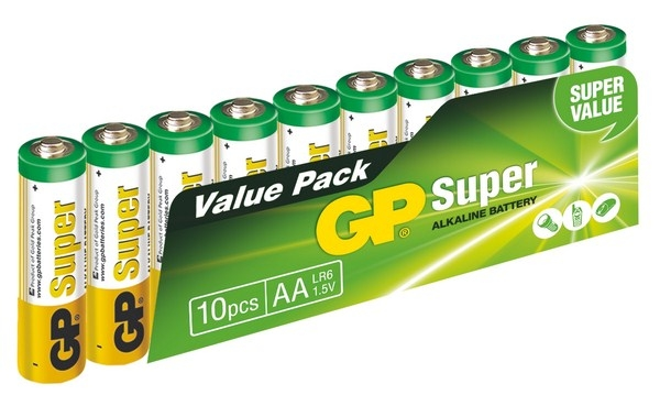 Alkalické baterie GP Super Alkaline AA, 10 kusů 1013200102