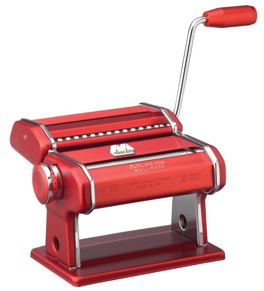 Marcato strojek na těstoviny Atlas 150 Wellness s nástavcem na nudle, - červený