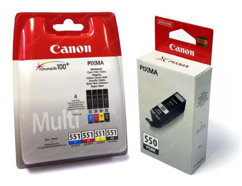 Inkoustové kazety Canon PGI-550 + CLI-551 CMYK/ GY/ PGBK Multi Pack - Originální 6496B005