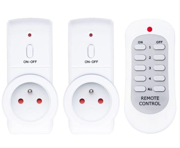 Solight dálkově ovládané zásuvky set 2 + 1, 2 zásuvky, 1 ovladač, learning code