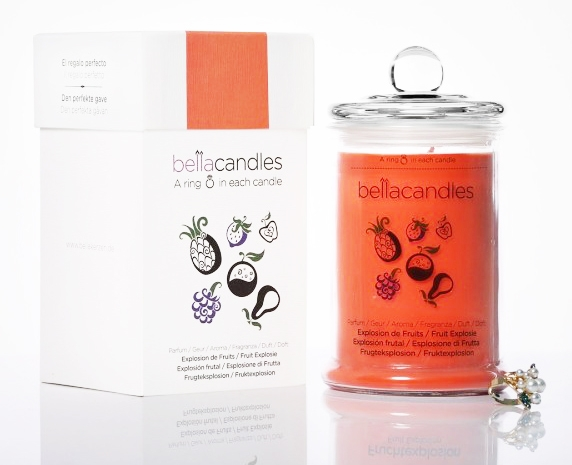 Aromatická svíčka se stříbrným prstenem BellaCandles - Ovocná Exploze, 1,4 kg (Velká)