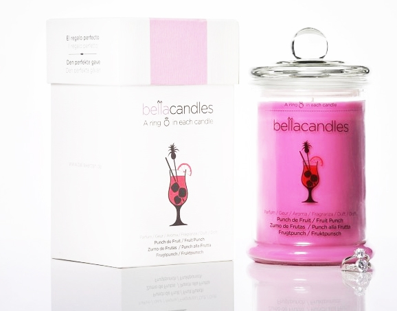 Aromatická svíčka se stříbrným prstenem BellaCandles - Ovocný Punč, 1,4 kg (Velká)