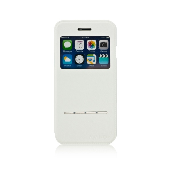 Pouzdro typu kniha AYANO Primo s průhledem pro Apple iPhone 6/6S, bílé IP6-PRI-WT-NON
