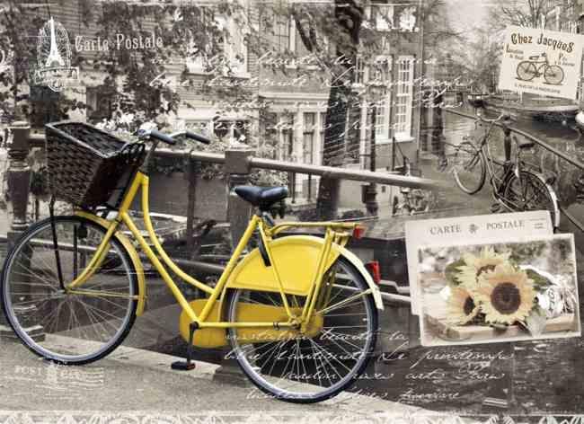 Korkové prostírání velké motiv Žluté kolo - 4ks