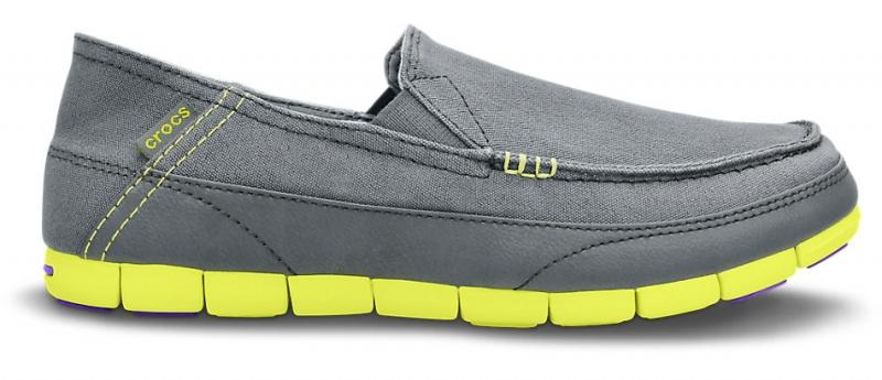 Crocs Men's Stretch Sole Loafer Charcoal/Citrus, M11 (45-46)