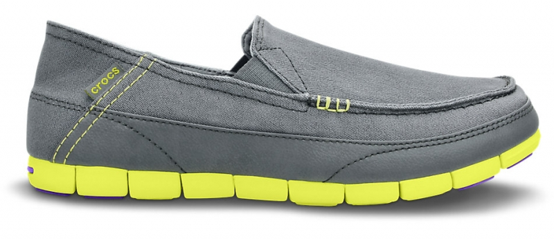 Crocs Men's Stretch Sole Loafer - Charcoal/Citrus, M12 (46-47)