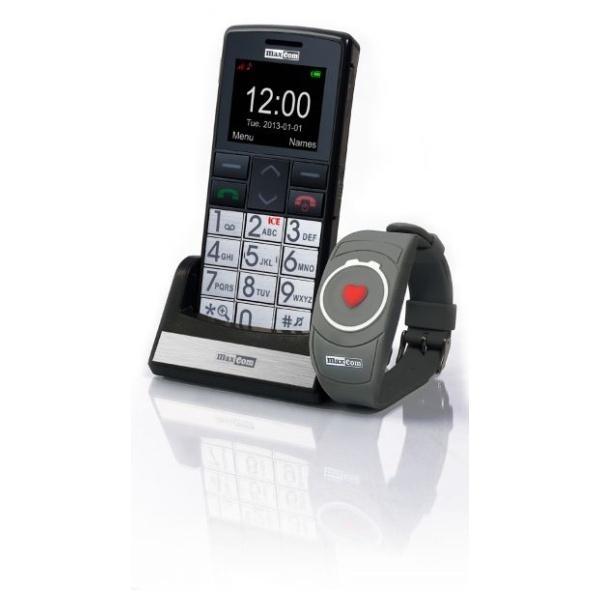 Mobilní telefon pro seniory MAXCOM MM715, SOS náramek, černý MM715SOS black