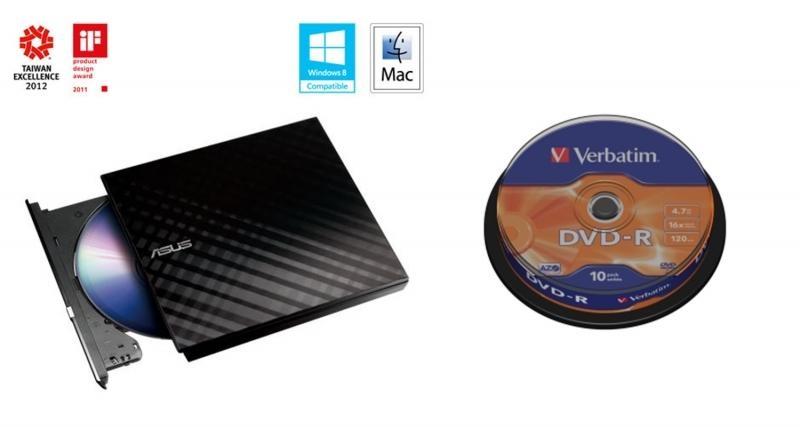 Trhák BUNDLE ASUS DRW-08D2S-U BLACK+ Verb. DVD-R 10cake