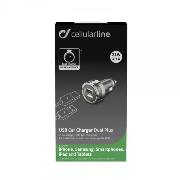 Auto USB nabíječka CellularLine Dual Plus, 2x USB, 4.2A, černá CBRUSBDUAL4AK