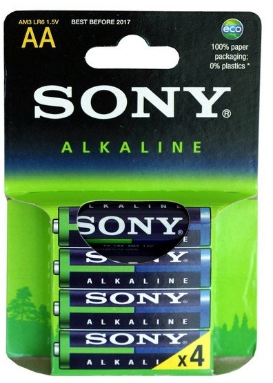 SONY Alkalické baterie AM3LB4D, 4ks LR6/AA Eco Blue AM3L-B4D