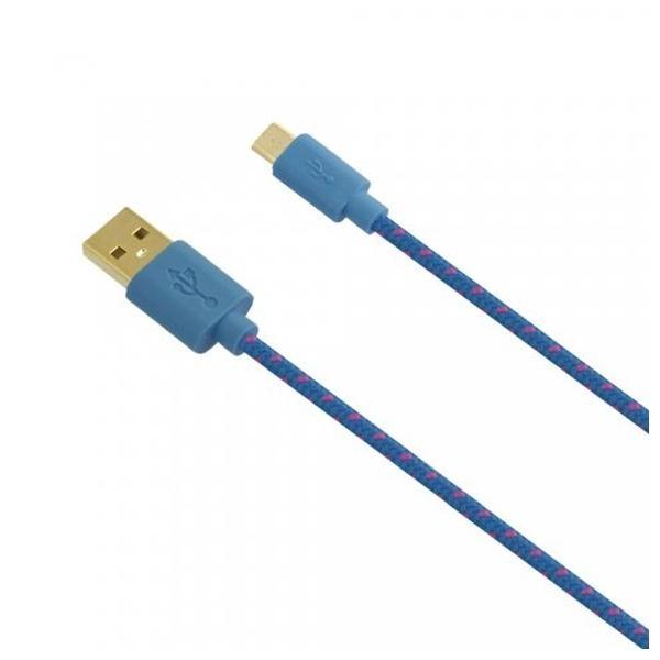 Textilní datový kabel Fontastic Fancy USB na microUSB, 1m - modrý 238277