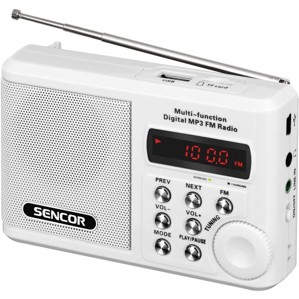 Rádio Sencor SRD 215 W s USB, micro SD - bílá