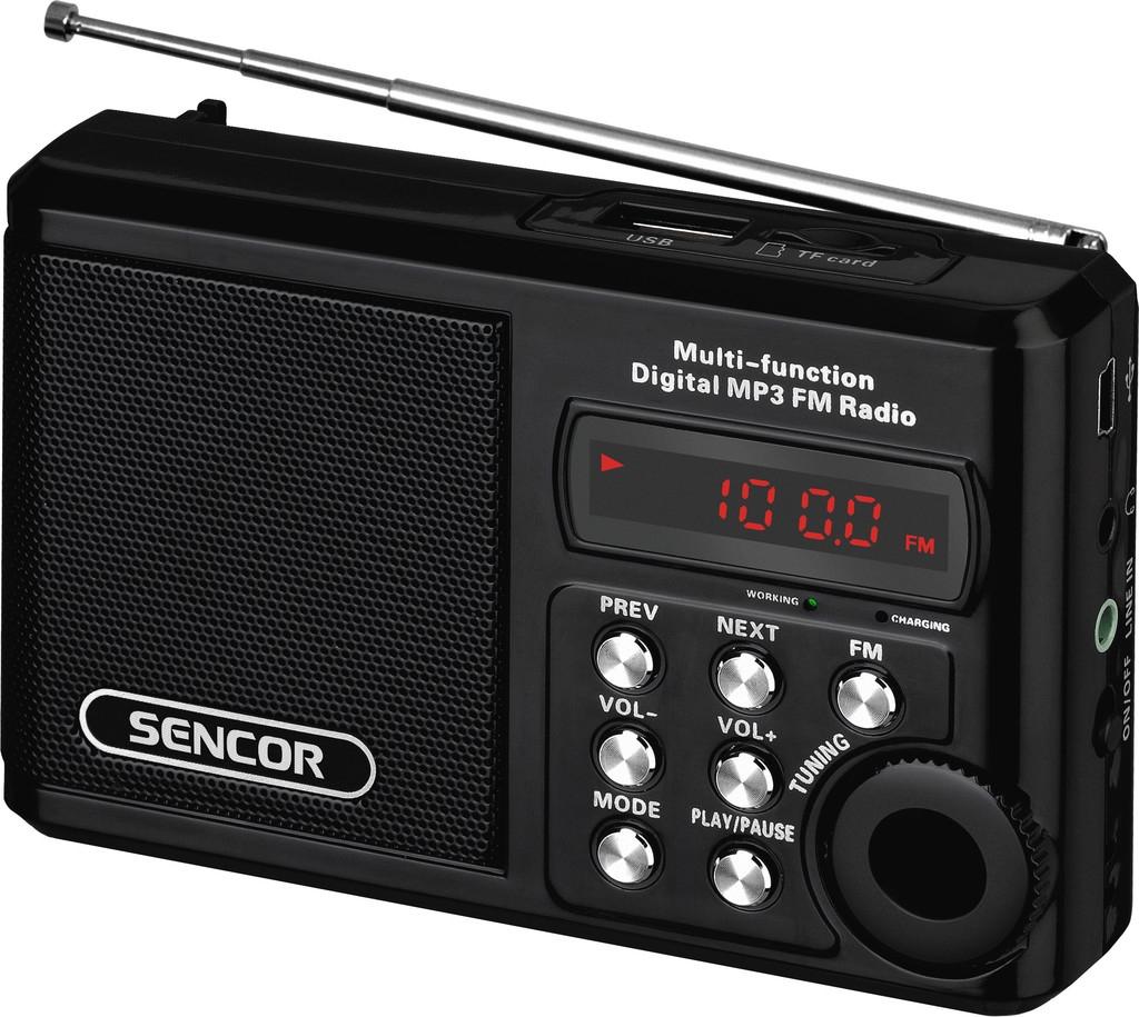 Rádio Sencor SRD 215 B s USB, micro SD - černá