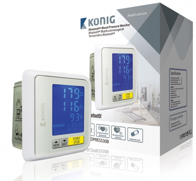 Bluetooth tlakoměr na zápěstí König KN-BLDPRESS30B