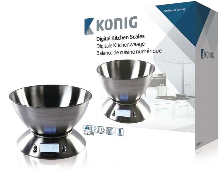 Digitální kuchyňská váha König HC-KS32N, nerezová mísa