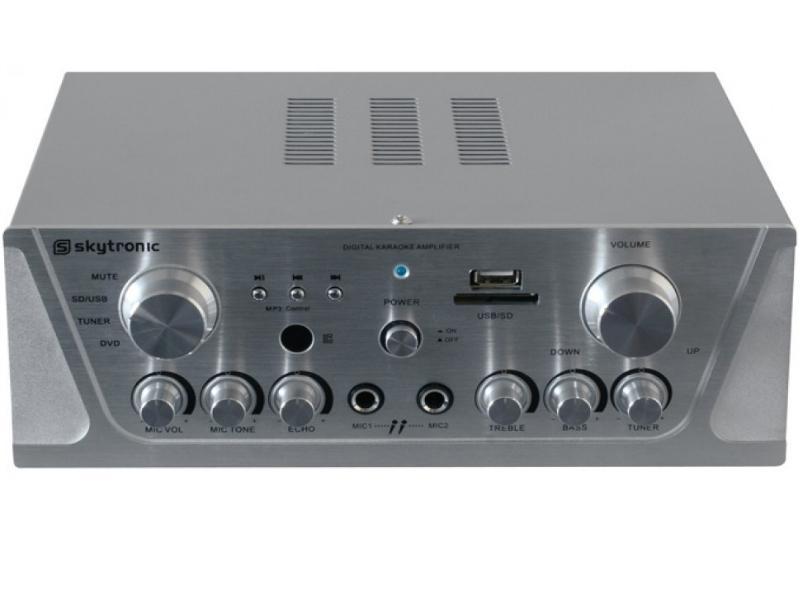 Karaoke zesilovač Skytronic 103.131, FM / USB / SD, stříbrný