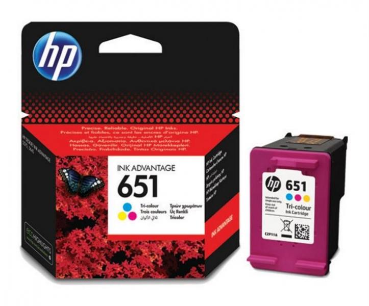 Tříbarevná inkoustová tisková kazeta HP 651 (HP651, HP-651, C2P11AE) - Originální C2P11AE