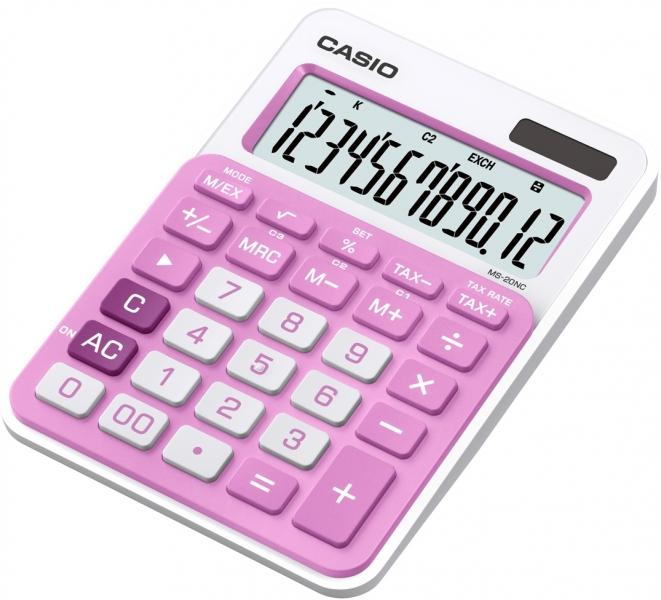 Stolní kalkulačka CASIO MS 20 NC, růžová