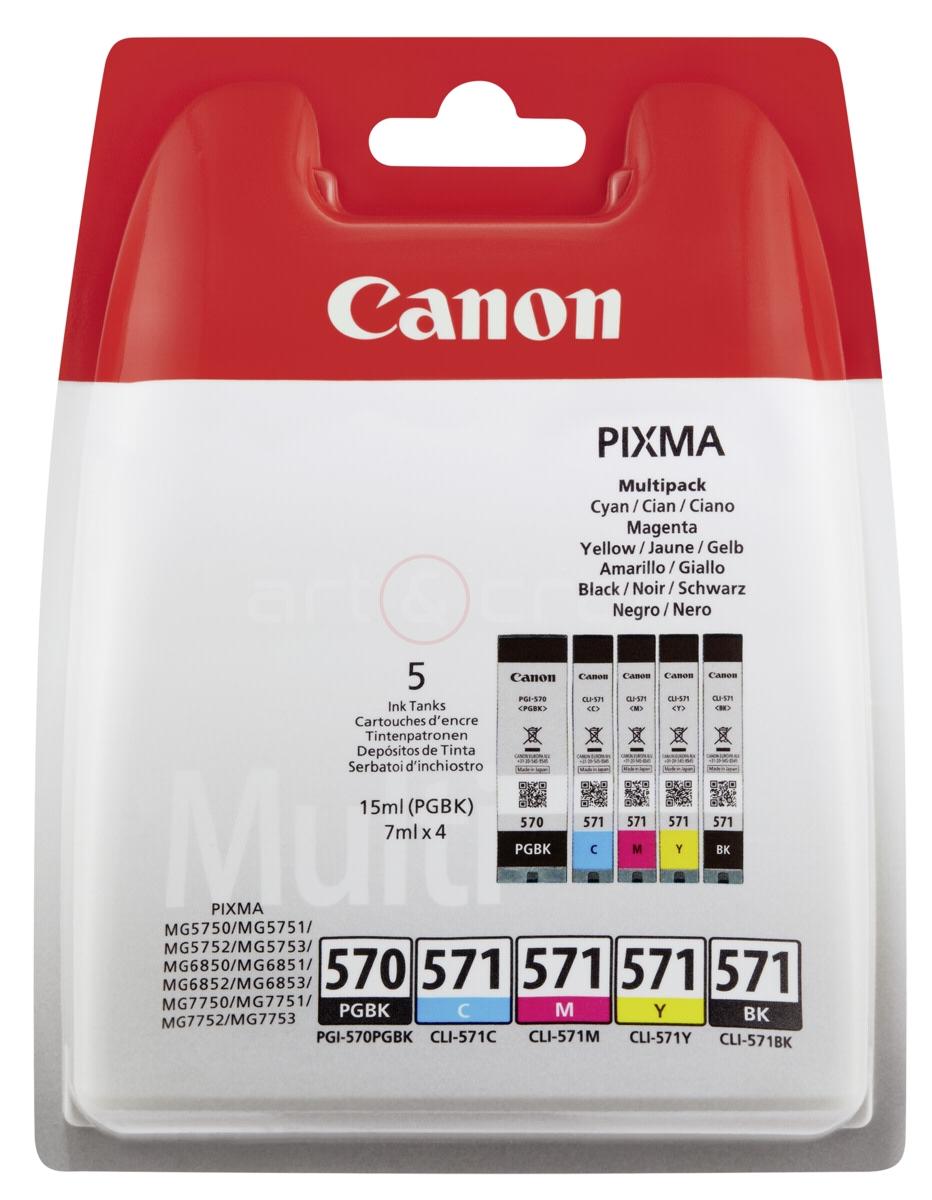 Inkoustové kazety Canon PGI-570 / CLI-571 CMYK + PGBk Multipack - Originální 0372C004