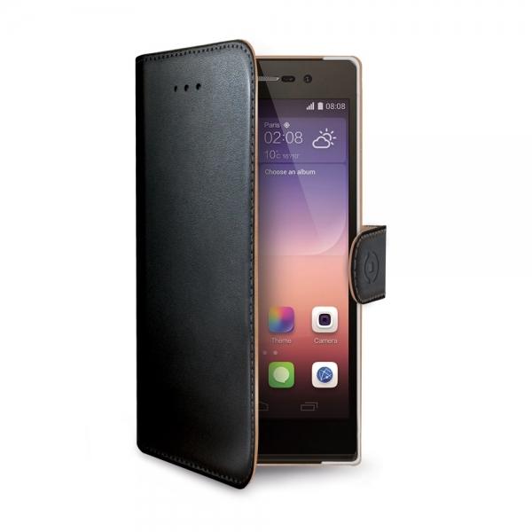 Pouzdro typu kniha Celly Wally pro Huawei P8 Lite, černé WALLY507