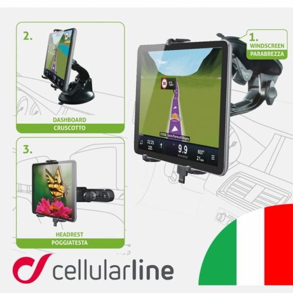 """Univerzální držák s přísavkou CellularLine Crab Tablet 3v1 pro tablety do 12"""", černý CRABTABLET3IN1"""