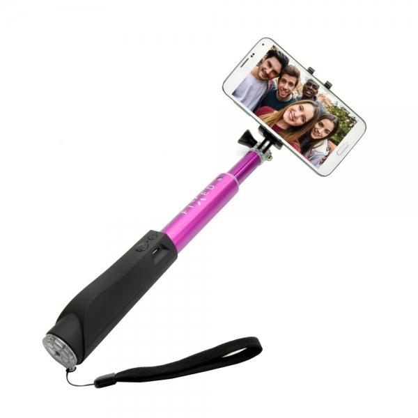 Teleskopická selfie tyč FIXED s Bluetooth spouští, - růžová FIXSS-BT-PI