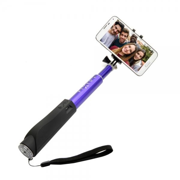 Teleskopická selfie tyč FIXED s Bluetooth spouští, - modrá FIXSS-BT-BL