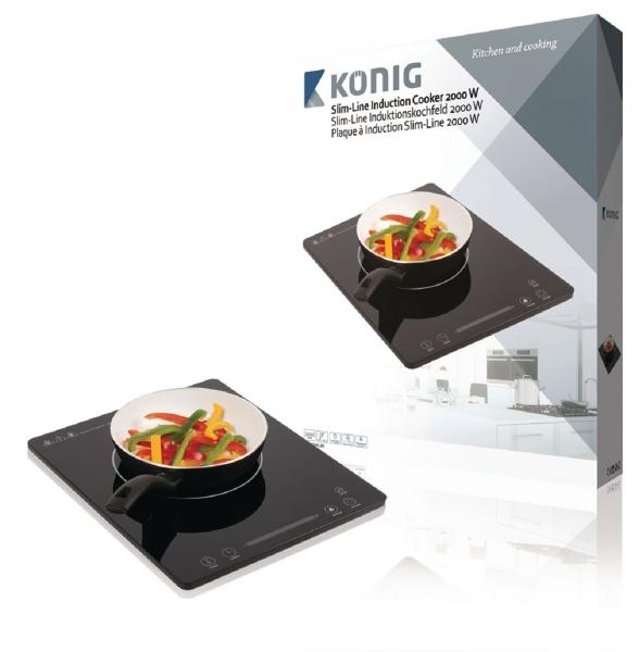 Tenký indukční vařič s dotykovým ovládáním König KN-INDUC-20, 2 000 W