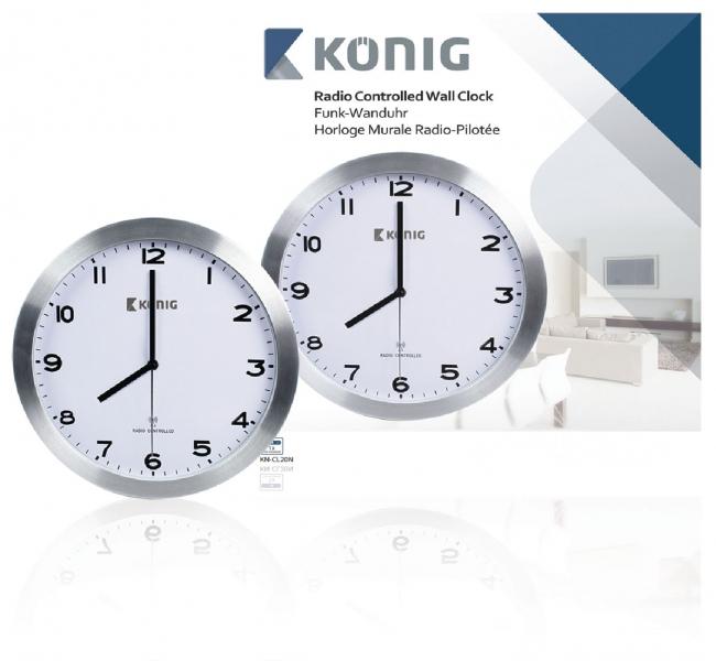 Nástěnné hodiny König KN-CL20N řízené rádiovým signálem, 30 cm