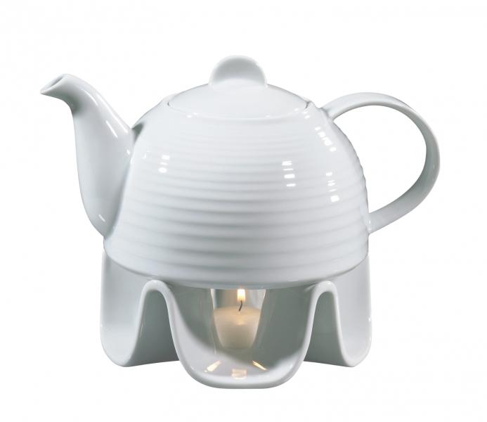 Cilio Rechaud porcelánová konvice na čaj s ohřívačem, 1.1l