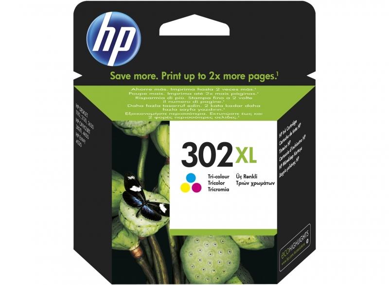 Tříbarevná inkoustová kazeta HP 302XL (HP302 XL, HP-302 XL, F6U67AE) - Originální F6U67AE