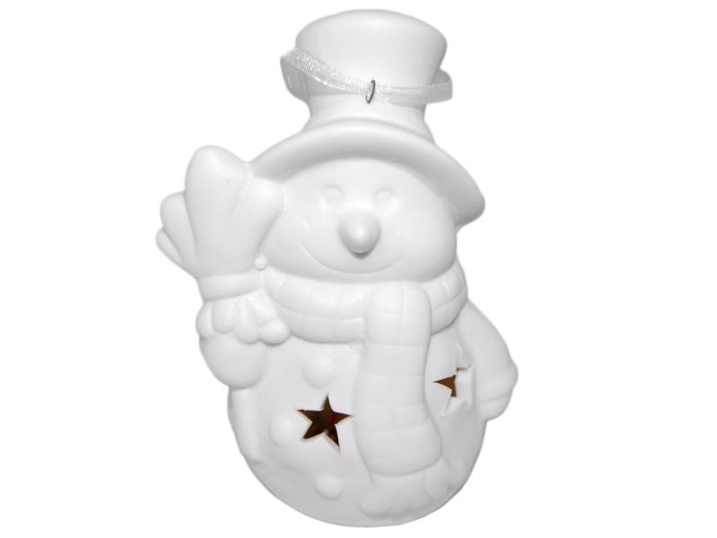 Vánoční svítící figurka - sněhulák s kloboukem