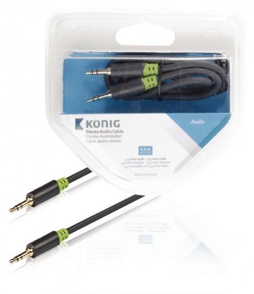 Stereo audio kabel, 3,5mm zástrčka – zástrčka, 0,5 m, šedý