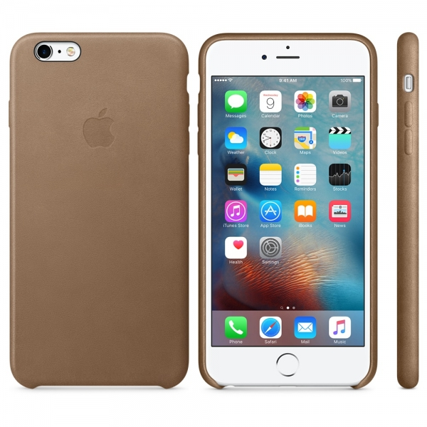 Kožený zadní kryt Apple Leather Case pro iPhone 6/6S Plus - Hnědá MKX92ZM/A