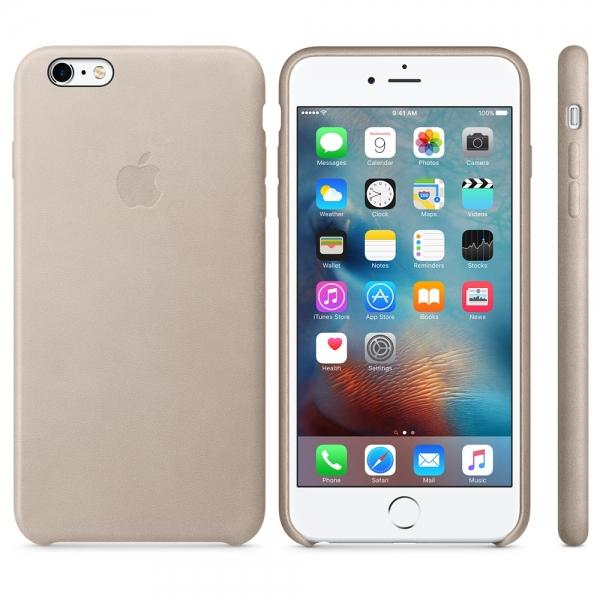Kožený zadní kryt Apple Leather Case pro iPhone 6/6S Plus - Růžově šedá MKXE2ZM/A