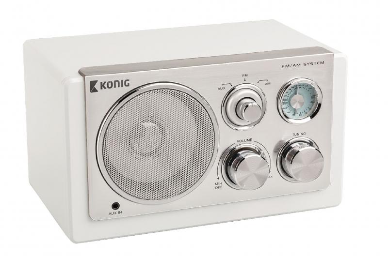 Retro stolní rádio König - bílé