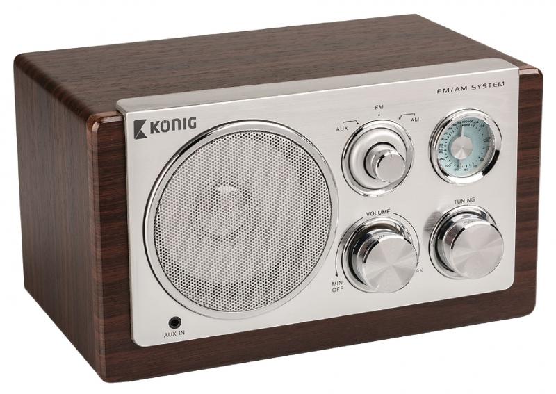 Retro stolní rádio König, tmavé dřevo - hnědé