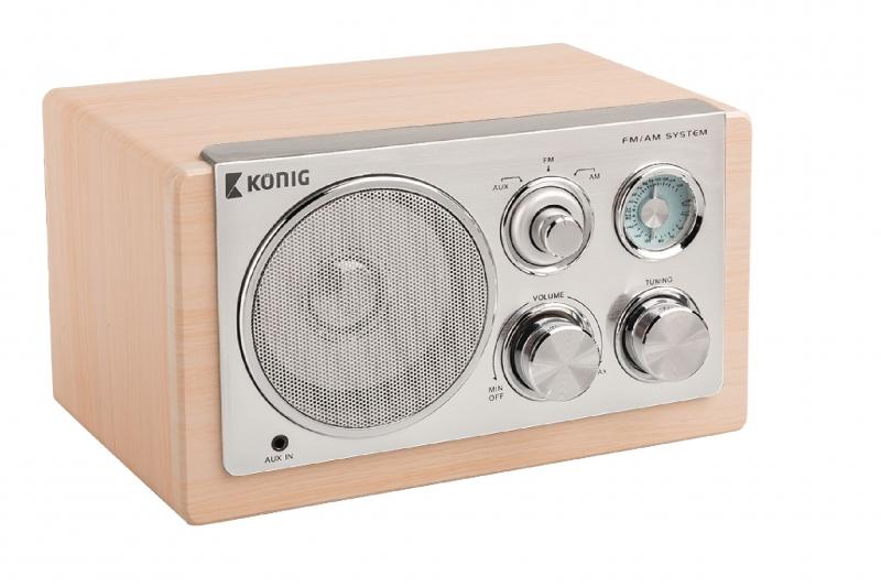 Retro stolní rádio König, světlé dřevo - béžové