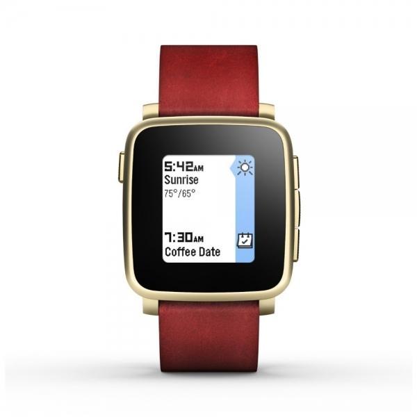 Chytré hodinky Pebble Time Steel Smartwatch, - zlaté 51100036