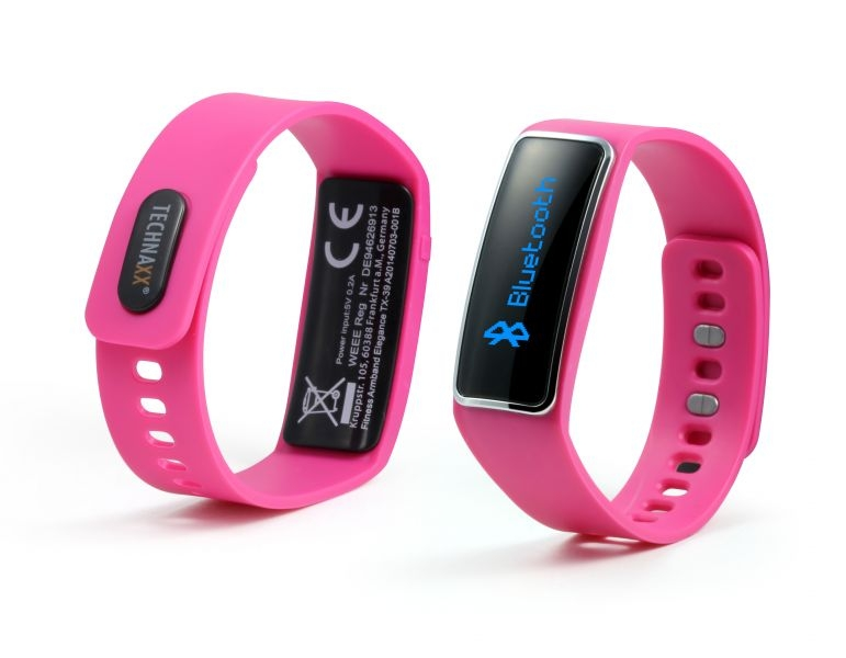 Fitness náramek Technaxx ELEGANCE, OLED, Bluetooth 4.0, Android/iOS, růžový (TX-39) - Růžový 4449