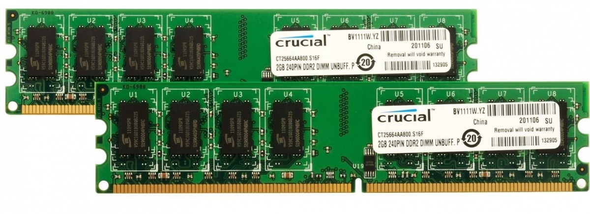 4GB DDR2-800 MHz Crucial CL6, kit 2x2GB CT2KIT25664AA800