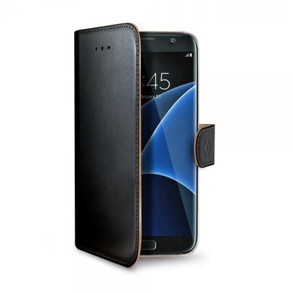 Pouzdro typu kniha Celly Wally pro Samsung Galaxy S7 Edge - černé WALLY591