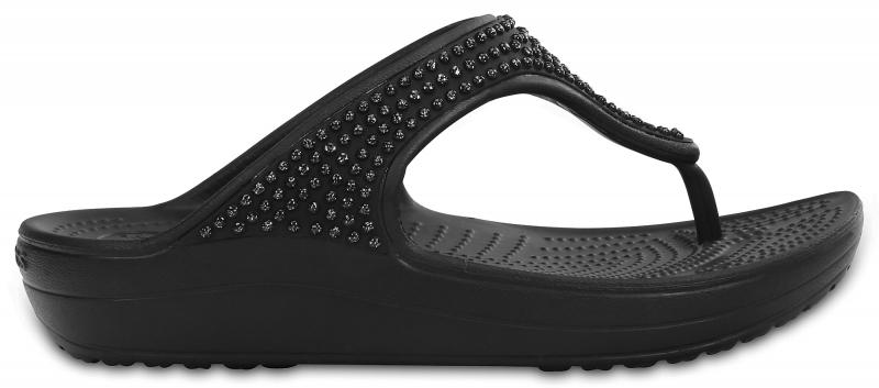 Crocs Sloane Diamante Flip - Black, W6 (36-37)