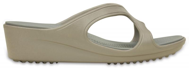 Crocs Sanrah Wedge Sandal - Platinum/Silver, W9 (39-40)