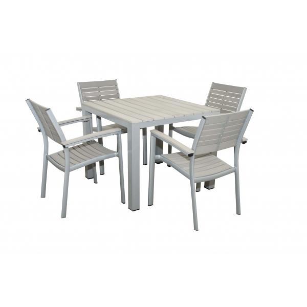 Zahradní sestava Doppler Genua, malý stůl + 4 pevná křesla