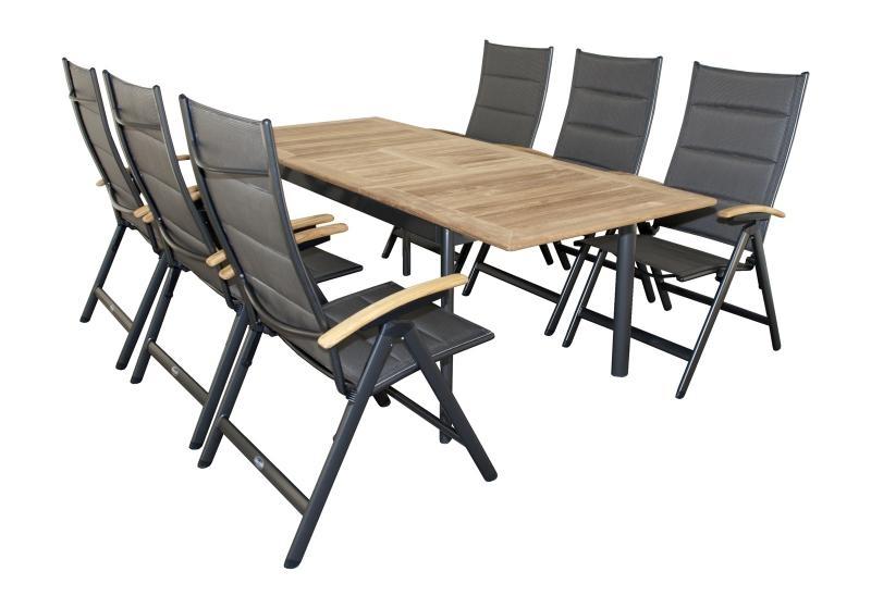 Zahradní sestava Doppler Concept, rozkládací stůl + 6 polohovacích křesel