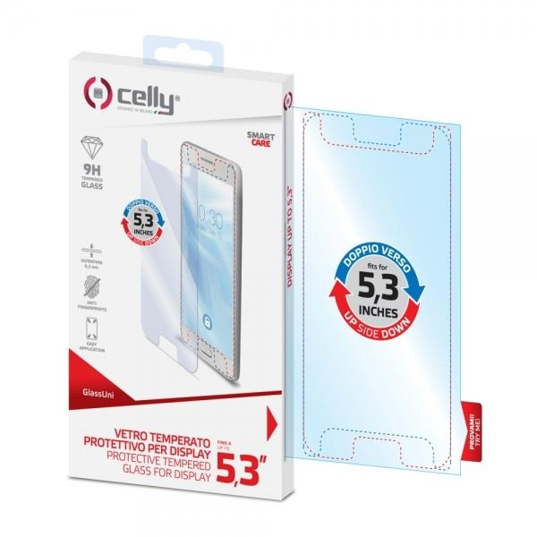 """Univerzální ochranné tvrzené sklo Celly Glass pro telefony do 5.3"""" GLASSUNI5.3"""